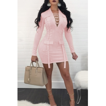Sexy V Neck Bandage Design Pink Polyester Mini Dress