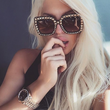 LovelyFashion Diamante Decorative Leopard Print Square Frame PC Sunglasses