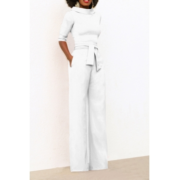 Chic Turtleneck Half Sleeves White Polyester One-piece Jumpsuits(With Belt)