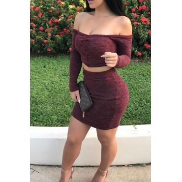 Sexy Bateau Neck Single Breasted Wine Red Polyester Two-piece Skirt Set