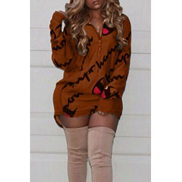 Casual Hooded Collar Letters Printed Brown Polyester Mini Dress