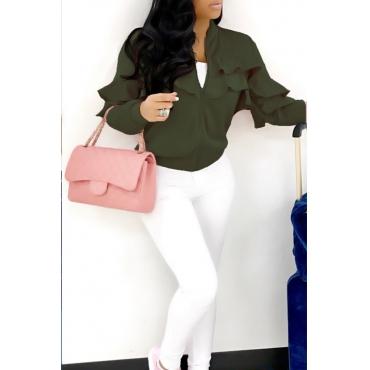 Leisure Round Neck Falbala Design Army Green Velvet Zipped Coat