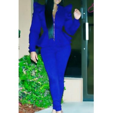 Fashion Mandarin Collar Falbala Design Blue Polyester Two-Piece Pants Set