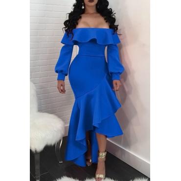 Sexy Bateau Neck Falbala Design Royalblue Healthy Fabric Ankle Length Dress(Without Belt)