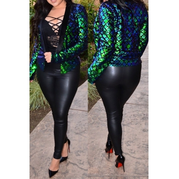 Sexy Mandarin Collar Sequins Decoration Green Polyester Blazer