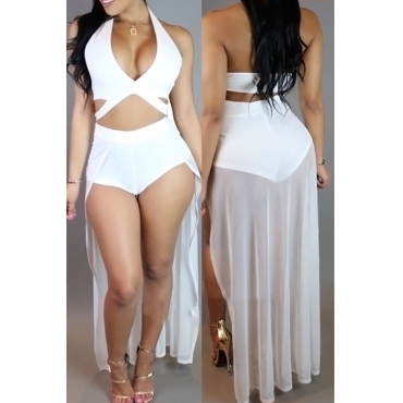Sexy V Neck Hollow-out White Polyester+Spandex One-piece Swimwear