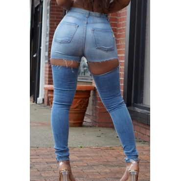 Fashion Mid Waist Broken Holes Light Blue Denim Zipped Jeans
