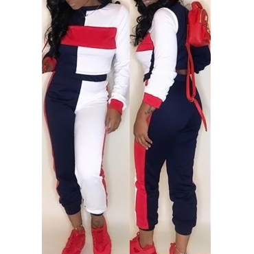 LovelyMulti Blending Pants Color Block O neck Long Sleeve Casual Two Pieces