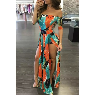 Stylish Bateau Neck Side Slit Feather Printed Green Polyester One-piece Jumpsuits