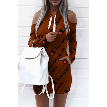 Euramerican Hooded Collar Cold-shoulder Letters Printed Brown Polyester Mini Dress(Non Positioning Printing)