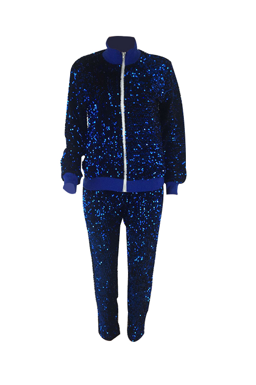 Stylish Turndown Collar Sequins Decoration Zipper Design Blue Polyester Two-Piece Pants Set