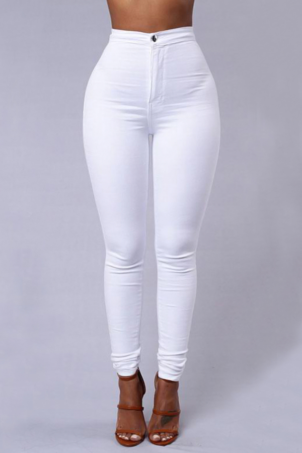Euramerican High Waist Zipper Design White Denim Pants