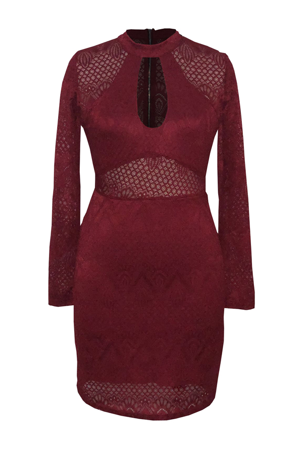 Lovely Sexy Round Neck See-Through Hollow-out Wine Red Lace Sheath Mini Dress