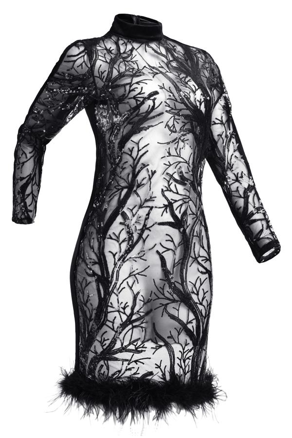 Adorável Sexy Gola De Pescoço Transparente De Lantejoulas Maomao Hem Preto Vestido De Joelho De Joelho De Poliéster