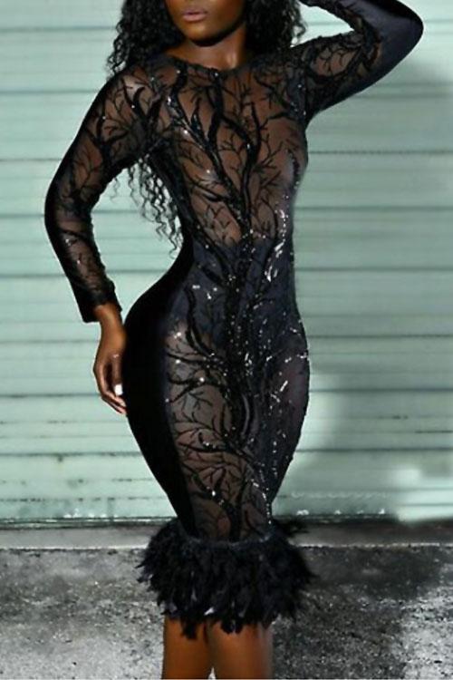 Lovely Sexy Turtleneck See-Through Sequins Decoration MaoMao Hem Black Polyester Knee Length Dress Dresses <br><br>