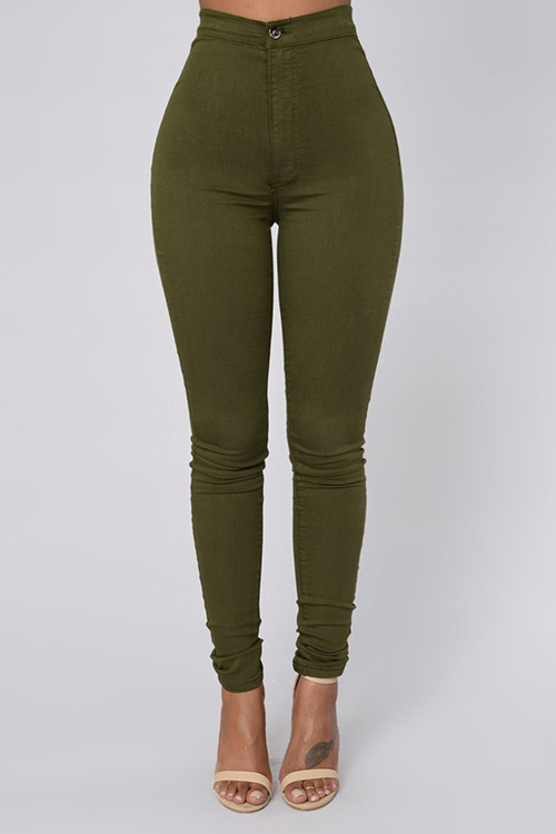 Euramerican High Waist Zipper Design Green Denim Pants