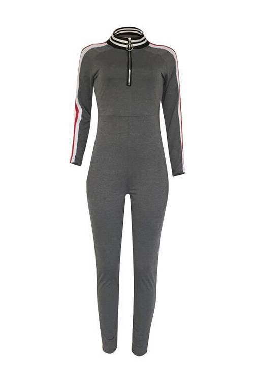 Sexy V Neck Zipper Design Striped Patchwork Grey Cotton Blends One-piece Jumpsuits
