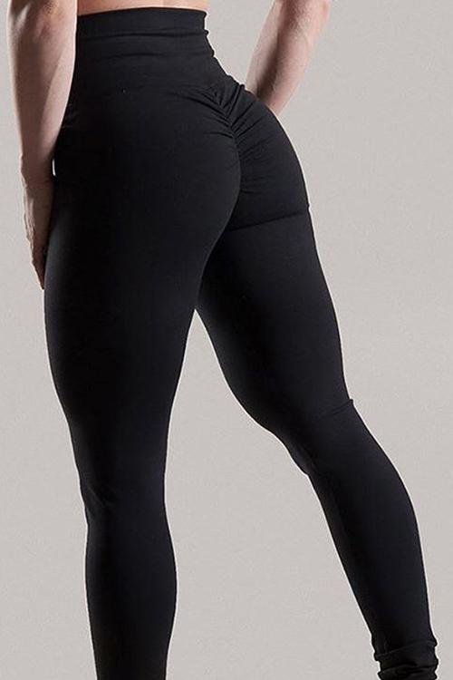 Fashion High Waist Fold Design Black Blending Leggings