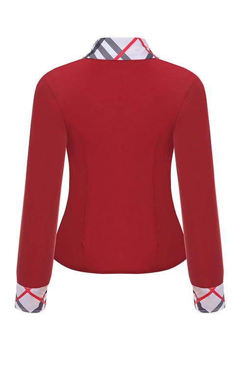 Camisola De Penteado Com Colarinho De Moda Camisas De Poliéster Vermelho Breasted