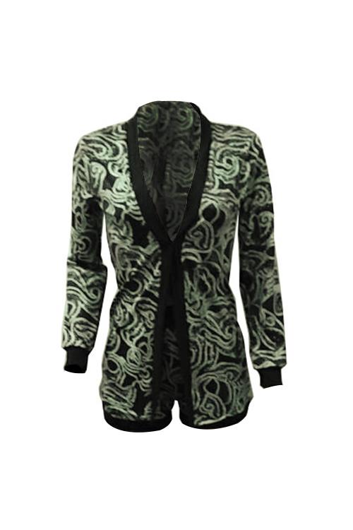 Mode V-Ausschnitt Lange Ärmel Gedruckt Grün Polyester Zweiteilige Shorts Gesetzt