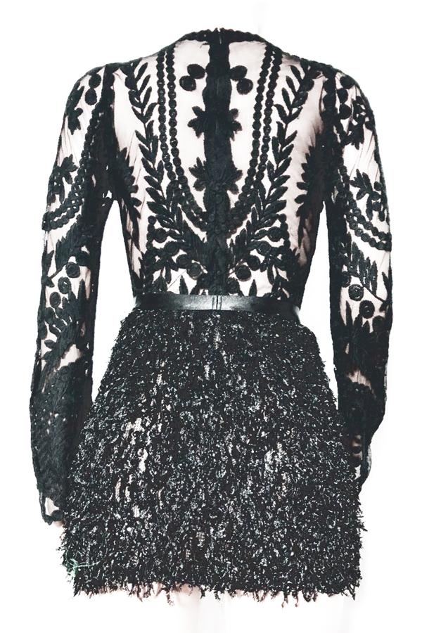 Sexy Collar De Mandarina Decoración De Plumas Bordado Diseño Poliéster Negro Falda De Dos Piezas
