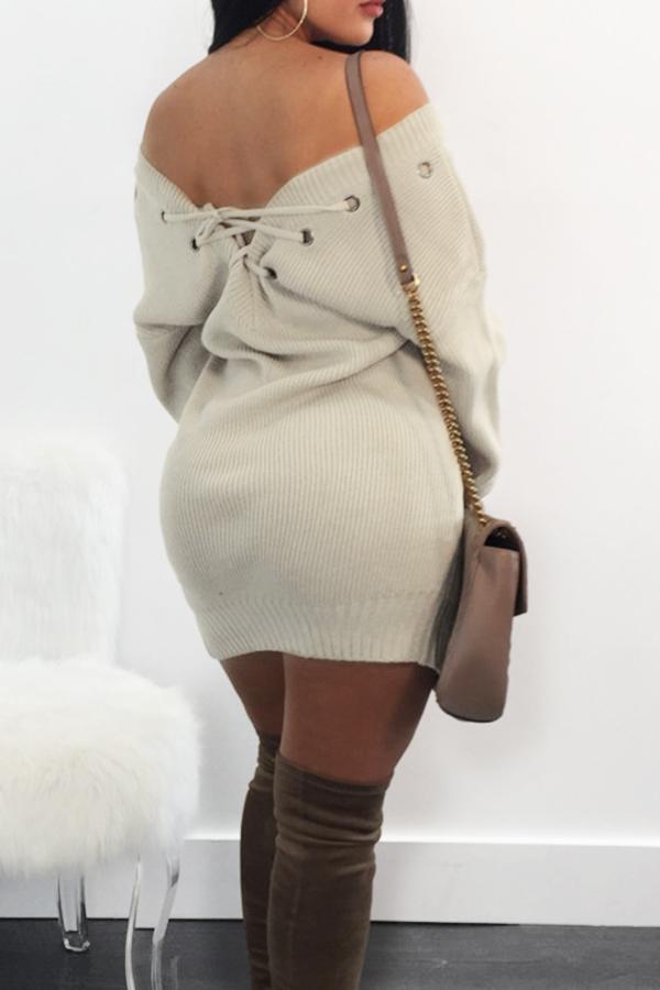 Lovely Sexy V Neck Eyelets Design Lace-up Khaki  Mini Dress