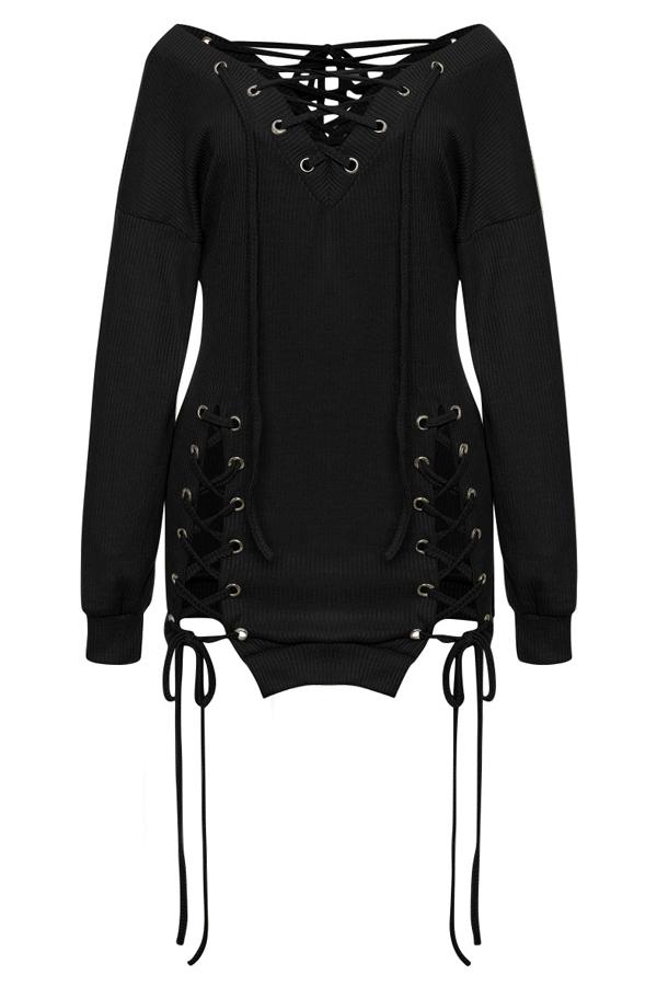 Precioso Y Sexy Cuello En V Ojales Diseño Con Cordones Mini Vestido Negro