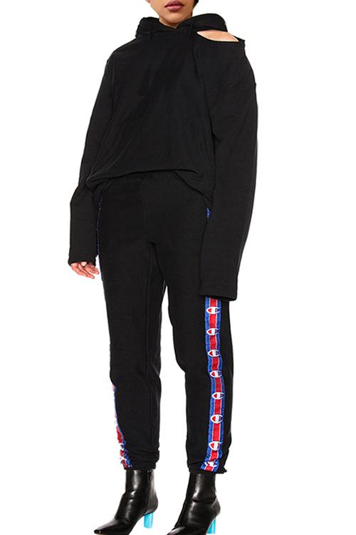 Encantador Cuello Con Capucha Casual Impreso Pantalones De Dos Piezas De Poliéster Negro
