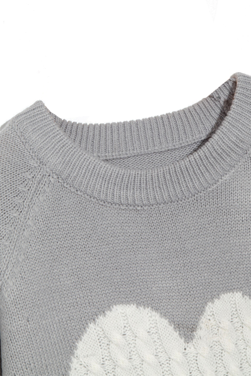 Lovely Fashion Round Neck Long Sleeves Heart-shaped Design Grey Knitting Sweaters
