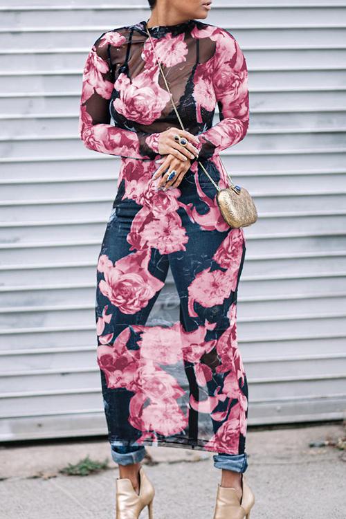 Симпатичный Сексуальный Круглый Шея Прозрачный Цветочный Печатный Розовый Полиэфир Платье Среднего Теленка (без Позиционирования Печати)