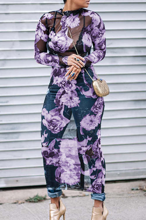 Lovely Sexy Round Neck See-Through Floral Printed Purple Polyester Mid Calf Dress(Non Positioning Printing)