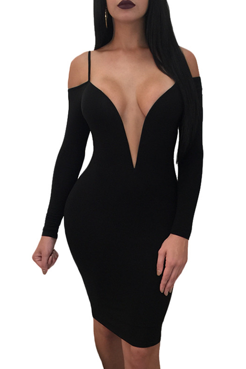 Lovely Sexy Deep V Neck Dew Shoulder Black Milk Fiber Knee Length Dress
