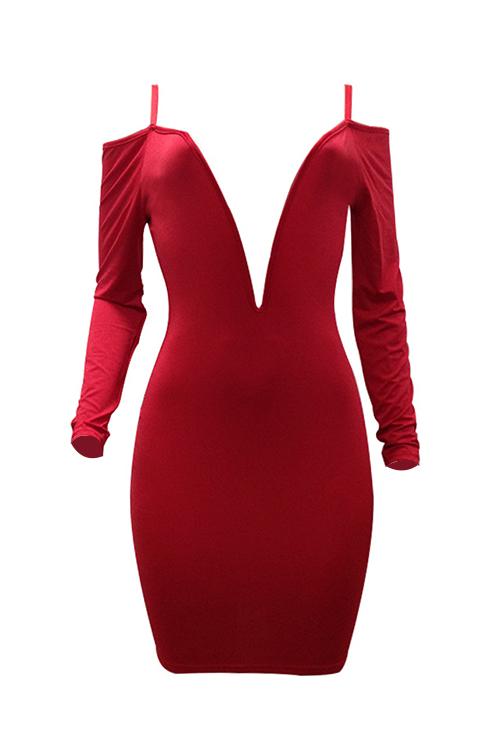 Lovely Sexy Deep V Neck Dew Shoulder Red Milk Fiber Knee Length Dress