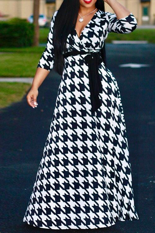 Lovely Vintage V Neck Three Quarter Sleeves Houndstooth Printed Black Milk Fiber Maxi Dress