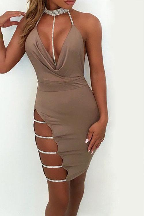 Precioso Collar De Mandarina Hueco Vestido De Algodón Caqui Mini Vestido Bodycon