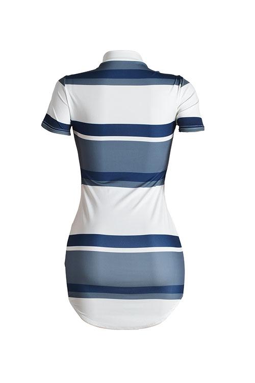 Lovely Sexy Mandarin Collar Short Sleeves Striped White Polyester Sheath Mini Dress