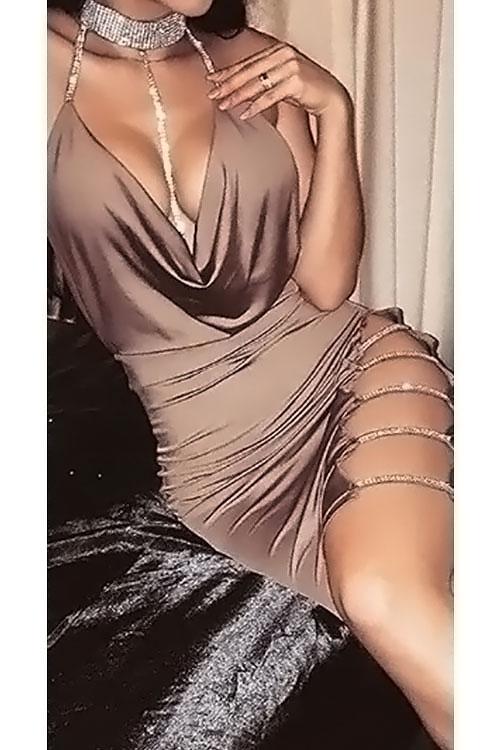 Симпатичный Сексуальный Воротник Мандарина Выдолбленный Хаки Хлопка Оболочки Мини Bodycon Платье