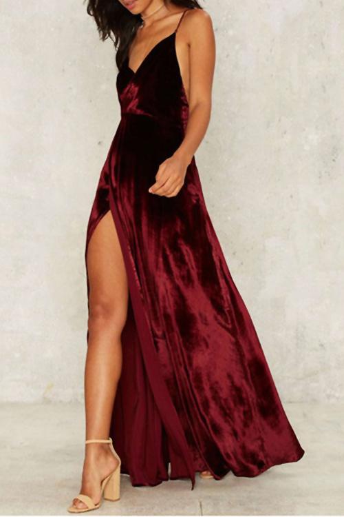 Lovely Sexy Spaghetti Strap Sleeveless Backless Side Slit Wine Red Velvet Maxi Dress