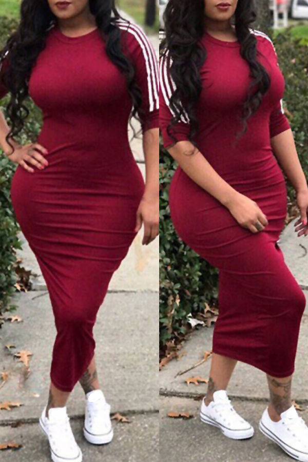 LovelySexy Round Neck Striped Wine Red Polyester Sheath Mid Calf Dress