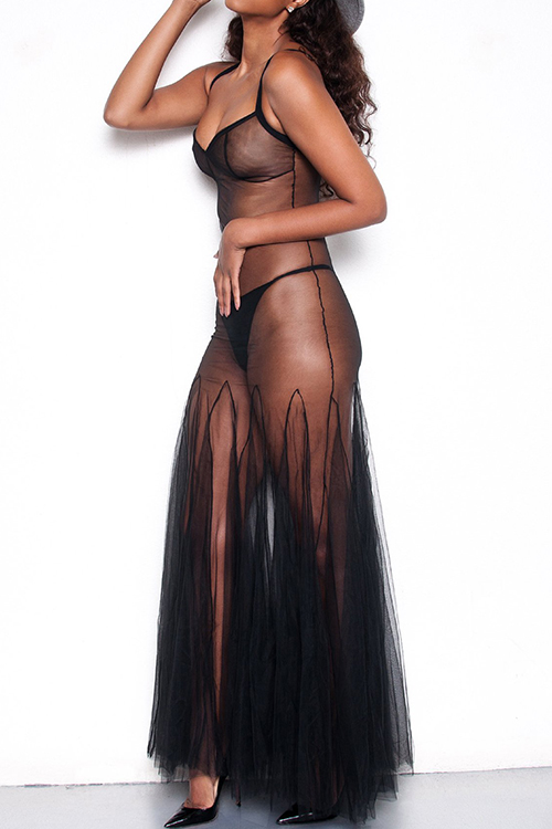 Lovely Sexy Spaghetti Strap Sleeveless See-Through Black Gauze Ankle Length Pleated Dress(Without Briefs)