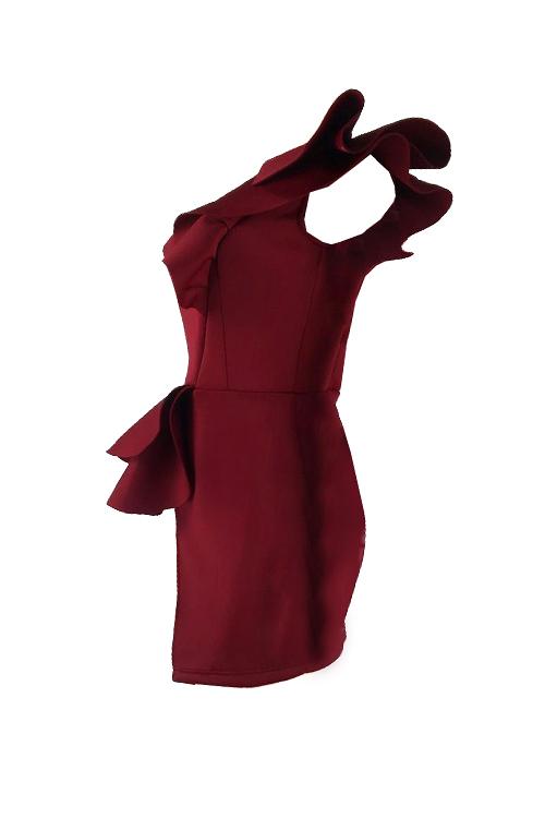 Reizendes Reizvolles Erscheinen Ein Schulter Falbala Entwurfsweinrot Polyester-Hüllenminikleid
