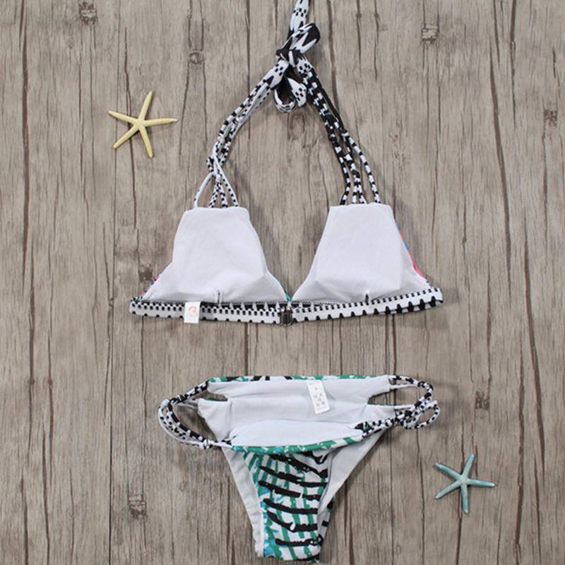 Lovely Sexy Lace-up Hollow-out Printed Polyester Two-piece Swimwears