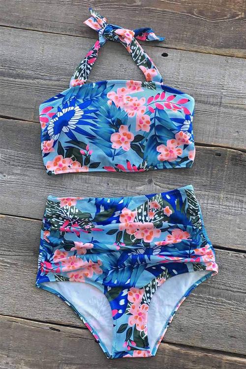 Trajes De Baño De Dos Piezas De Poliéster Azul Impresos Florales Con Cordones De La Moda Encantadora