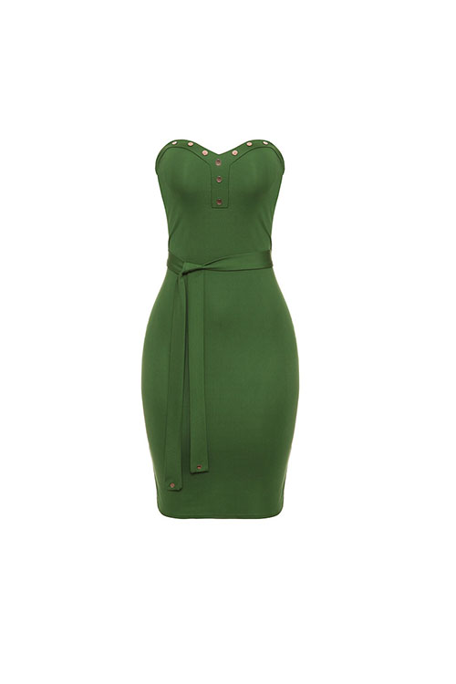 Precioso Sexy Strapless Botón Decorativo Verde Saludable Tela Vaina Hasta La Rodilla Vestido (con Cinturón)