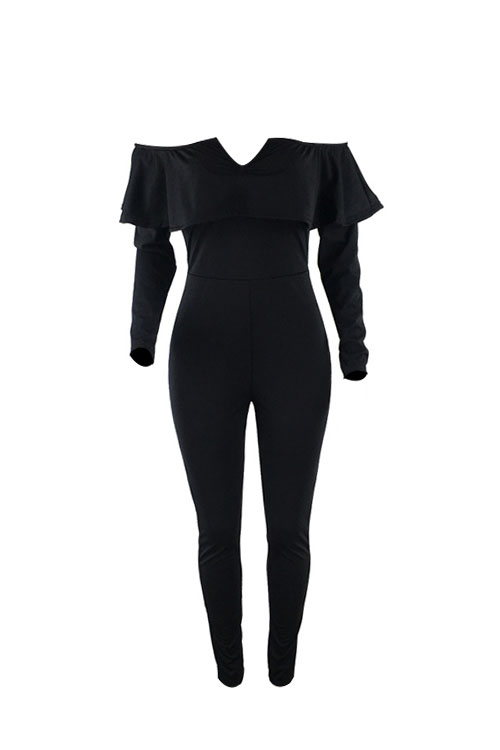 Lovely Sexy Dew Shoulder Falbala Design Black Polyester One-piece Jumpsuits