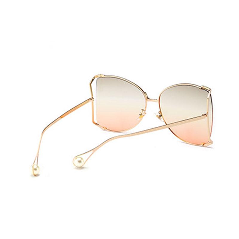 Preciosas Gafas De Sol Doradas De PC De Diseño De Gran Marco