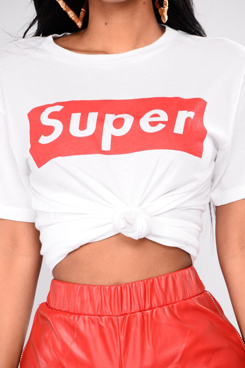 Lovely Casual Round Neck Letters Printed White Blending T-shirt