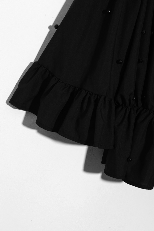 Lovely Fashion Bateau Neck  Trumpet Sleeves Nail Bead Decoration Black Polyester Shirts