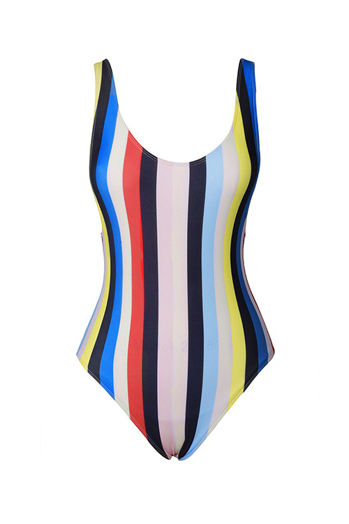Lovely Fashion U Neck Colorful Striped Printed Polyester One-piece Swimwears(Non Positioning Printing)