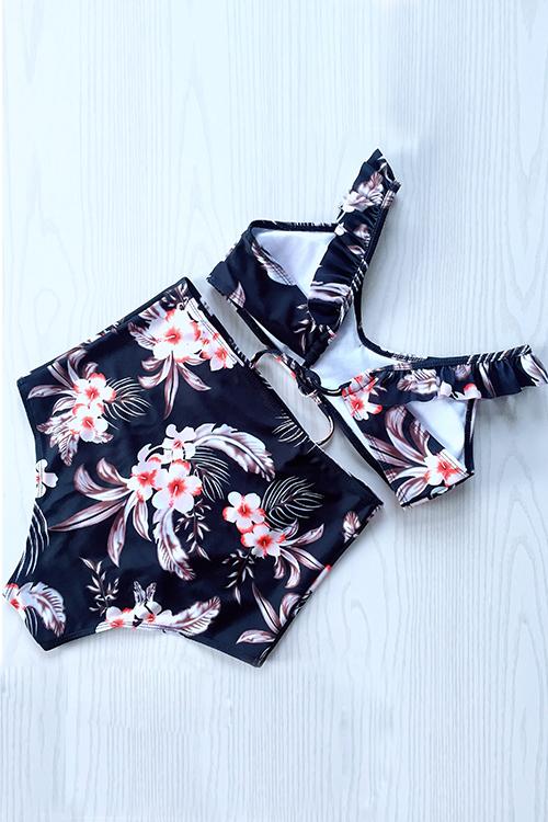 Costumi Da Bagno A Due Pezzi In Poliestere Nero Con Stampa Floreale Adorabile Moda